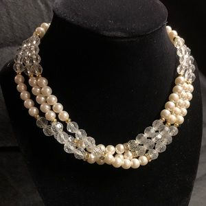 3-string faux pearl and crystal necklace